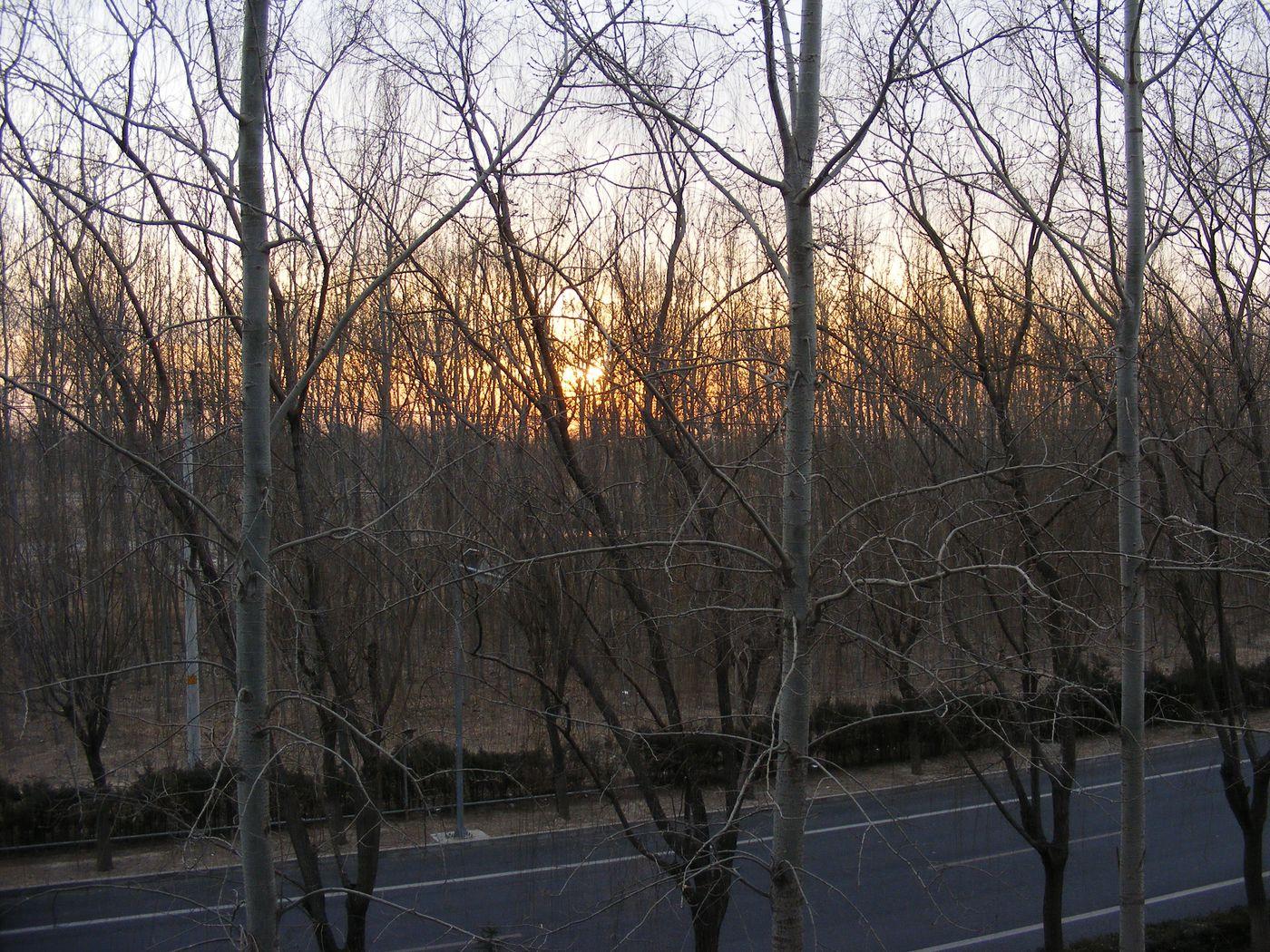 Beijing Winter Setting Sun